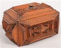263 Tramp Art Dresser Box Varnished chip carved strip