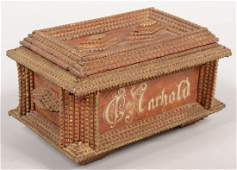 268: Tramp Art Decorated Cigar Box. Box covered with ch