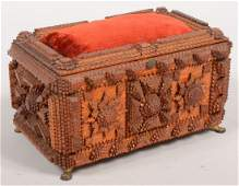 271: Tramp Art Hinged Lid Dresser Box with Pin Cushion.