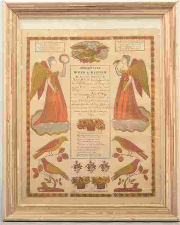 Printed Birth and Baptism Certificate or Taufschei