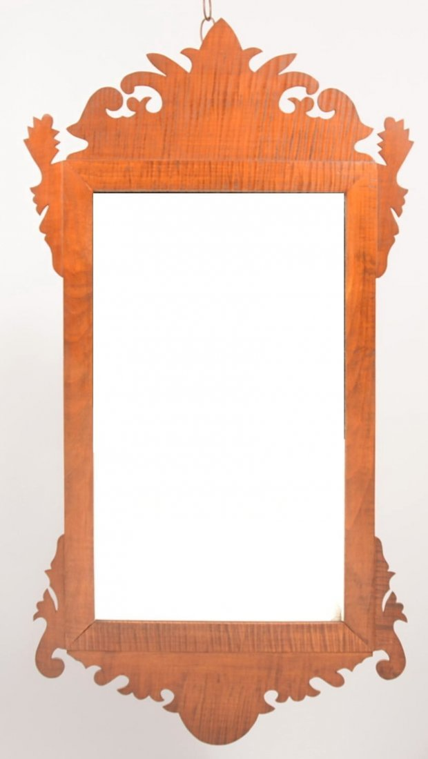 1: Tiger Maple Chippendale Style Looking Glass. Unmarke