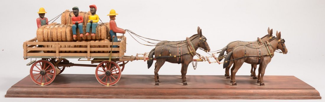 2: Cleber Rouse Carved Four Mule Team with Wagon. Four