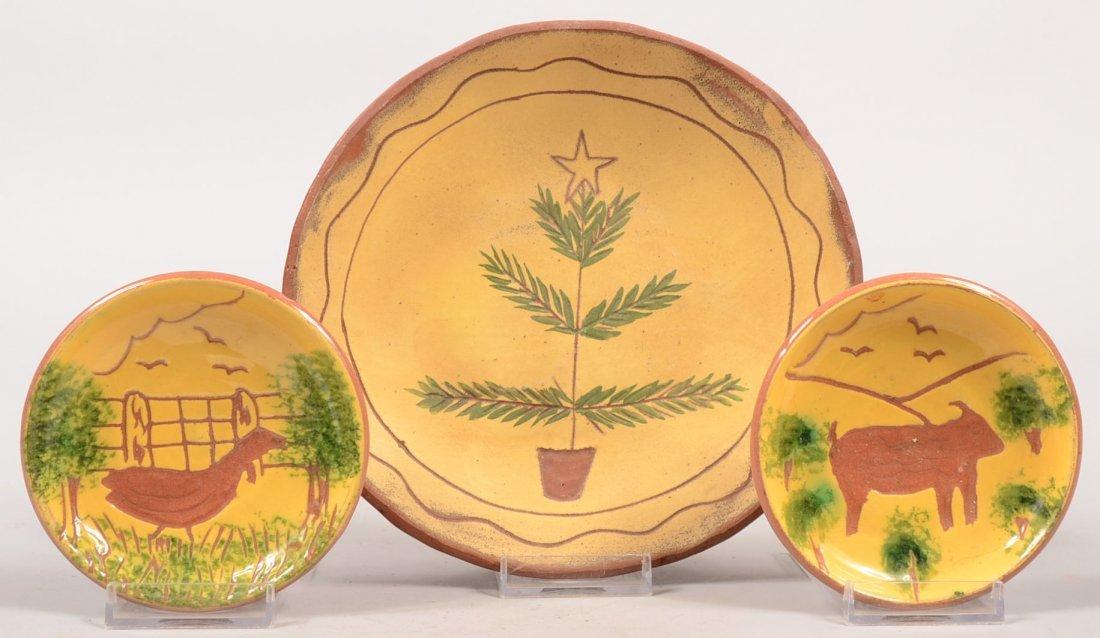3: Three Redware Dishes with Yellow Slip Decoration. La
