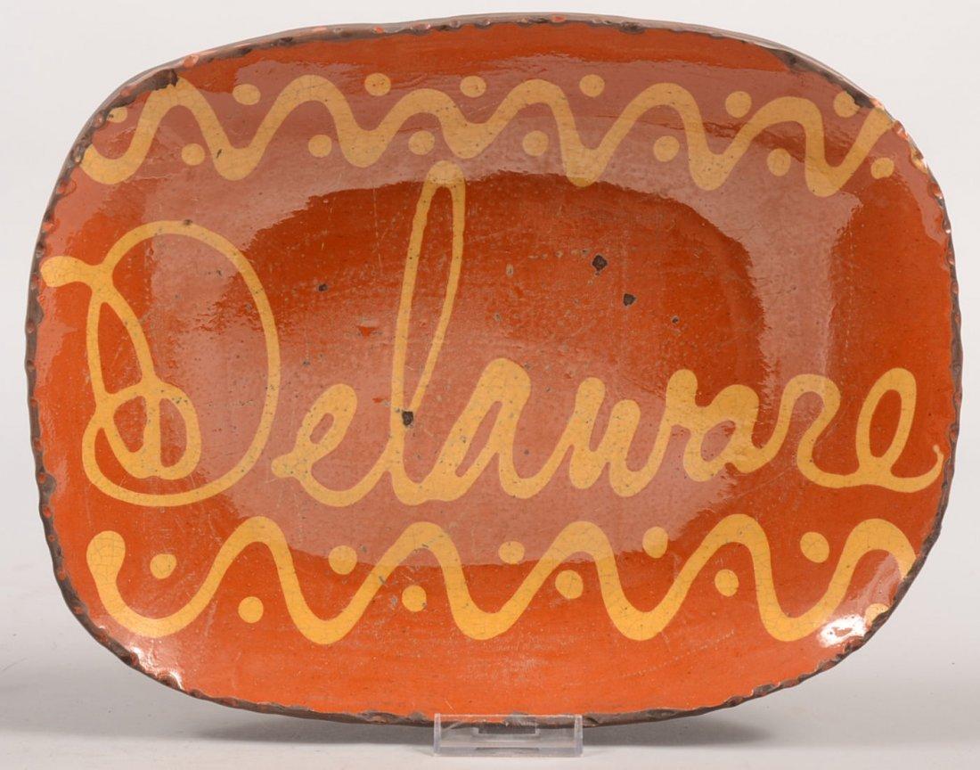 5: Greg Shooner Delaware Marked Redware Loaf Dish. Cogg