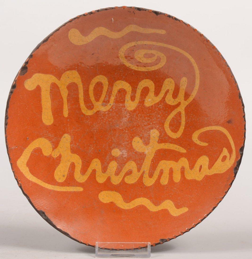 6: Greg Shooner Merry Christmas Redware Dish. Circular
