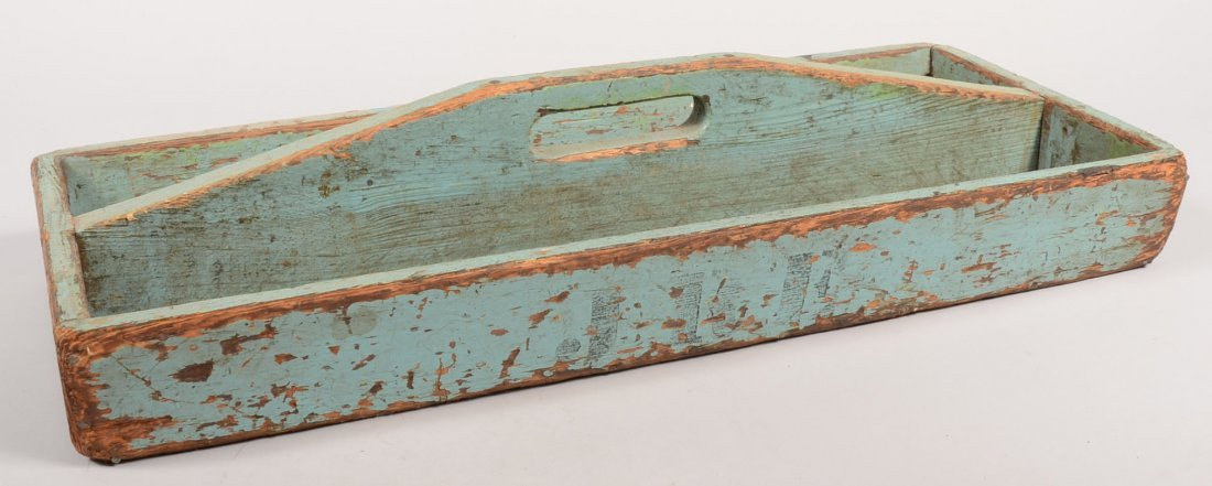 7: Painted Wood Tool Carrying Tray. Sides slightly spla