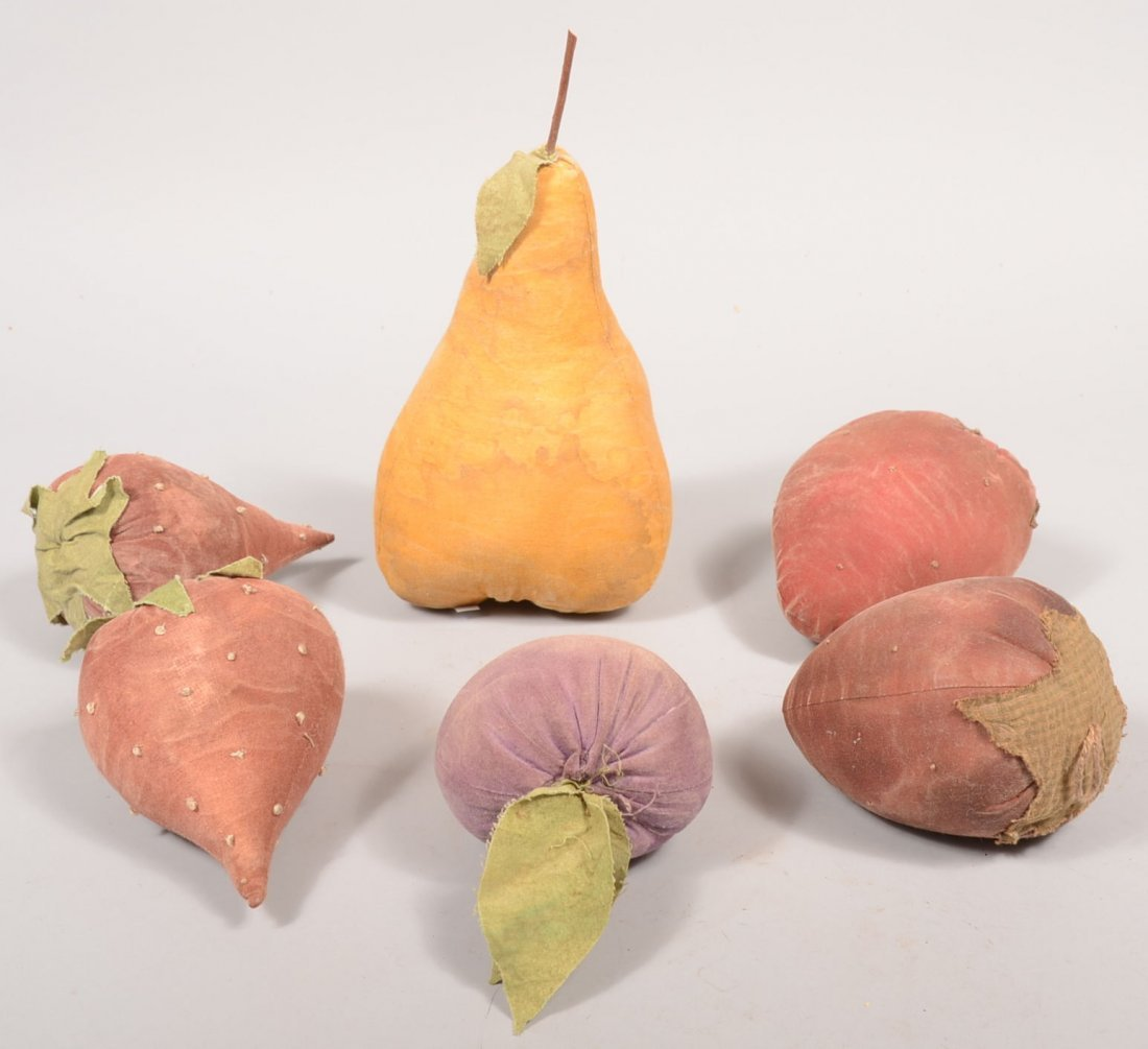 22: Six Over-sized Velvet Fruit or Vegetable Pieces. A