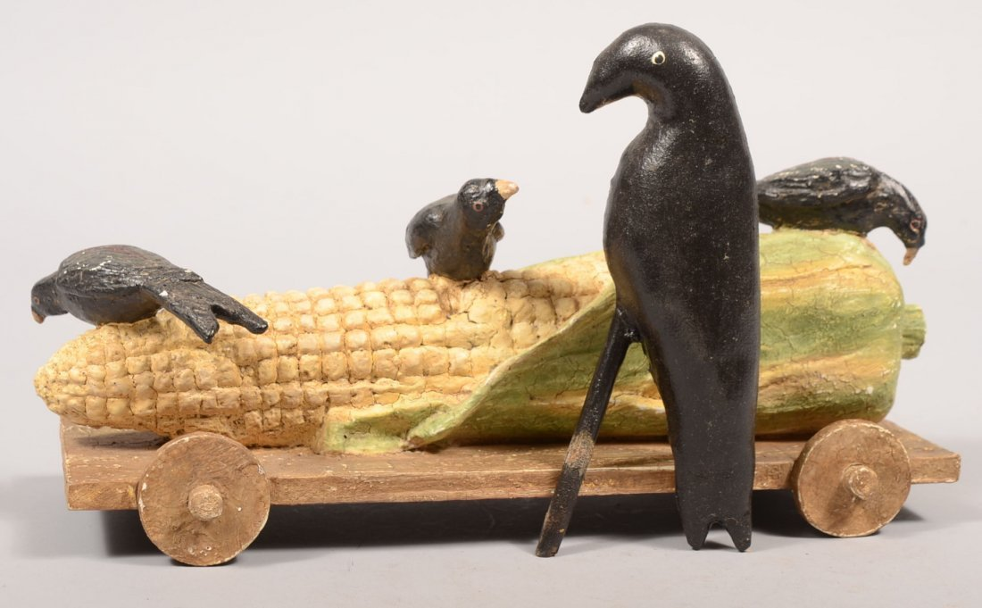 24: Painted Composition and Wood Ear of Corn Toy. Natur