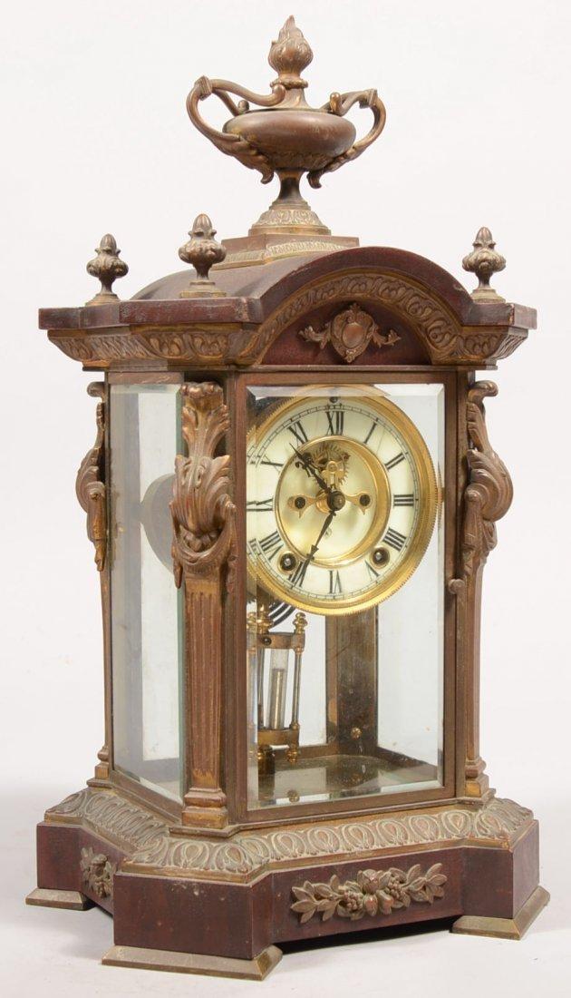 248: Ansonia Brass, Mahogany and Glass Case Clock. Bras