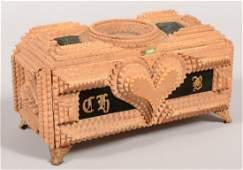 485 Tramp Art Chip Carved Box with Decorative Velvet I