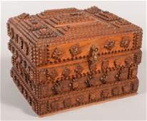 487 Walnut Tramp Art Box Deep hinged lid has four fi