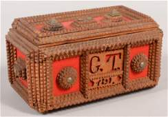 495 German Tramp Art Dresser Box Box case and lid sur