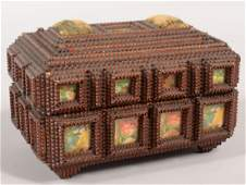 497 Chip Carved and Windowed Tramp Art Style Box Re