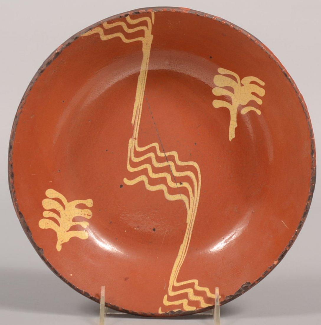Greg Shooner Slip Decorated Redware Bowl. Multiple slip