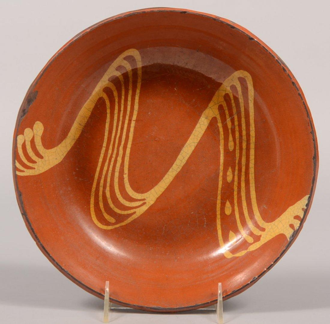 Greg Shooner Slip Decorated Redware Bowl. Unusual multi