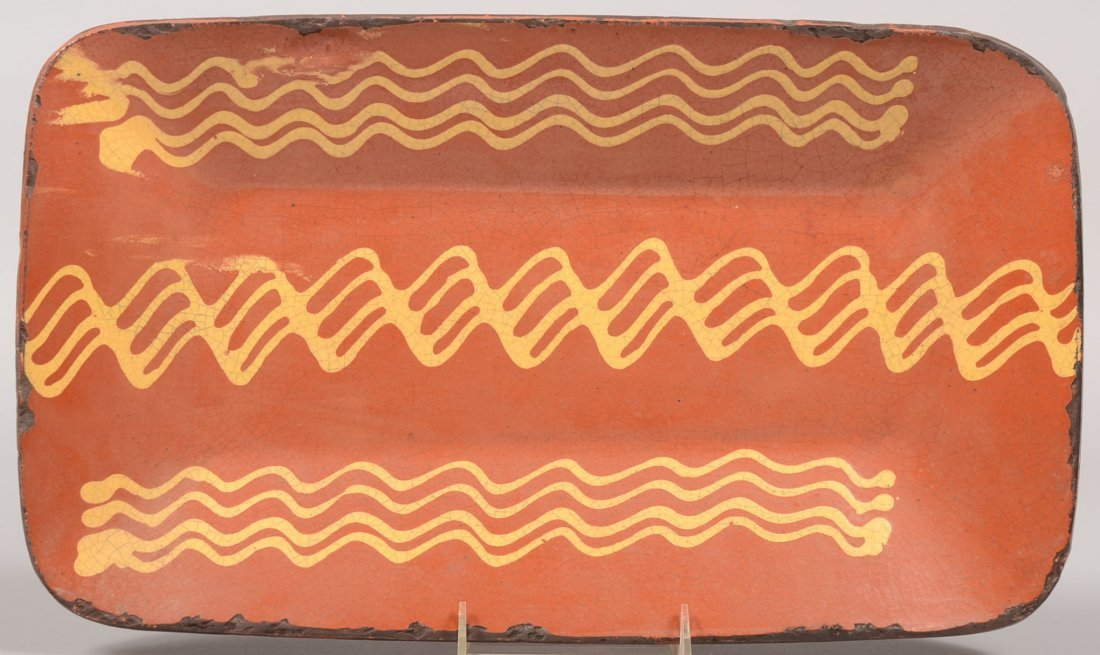 Greg Shooner Slip Decorated Redware Loaf Dish. Shallow