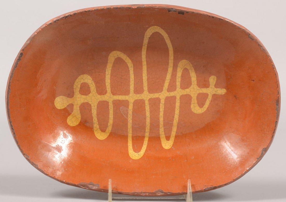 Greg Shooner Oblong Slip Decorated Loaf Dish. Slip desi