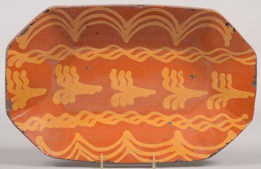 Greg Shooner Decorated Octagonal Redware Loaf Dish. Sli