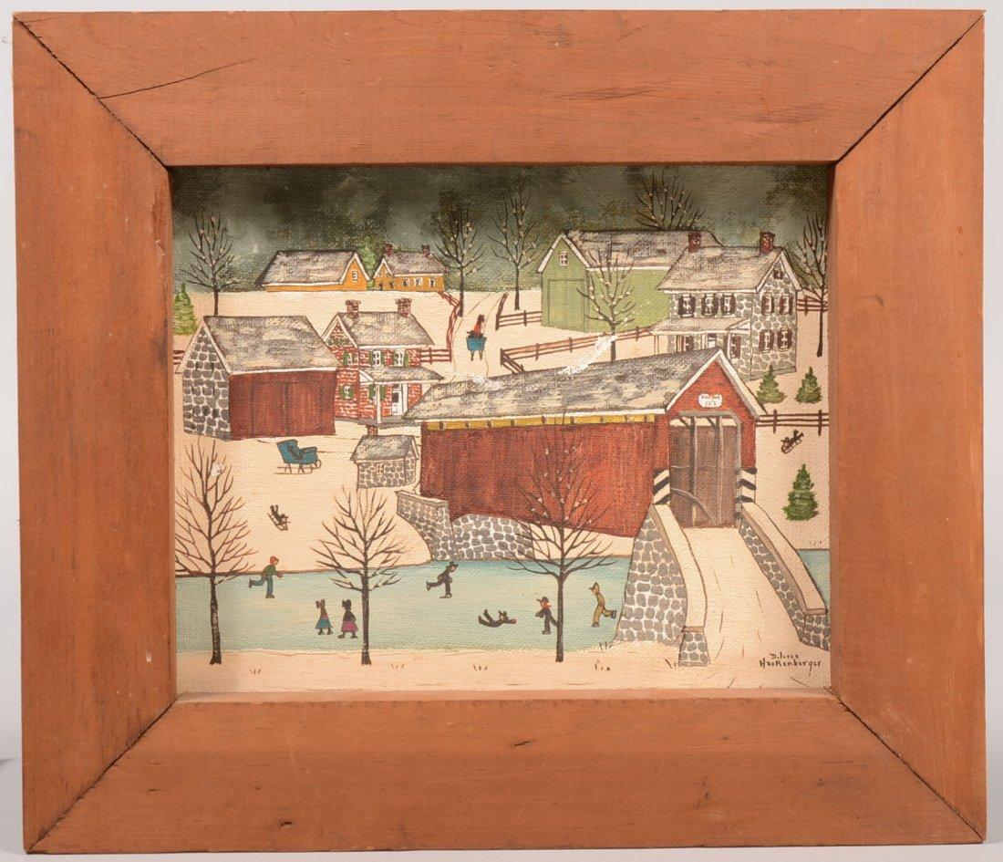 Dolores Hackenberger Winter Covered Bridge Scene. Oil o