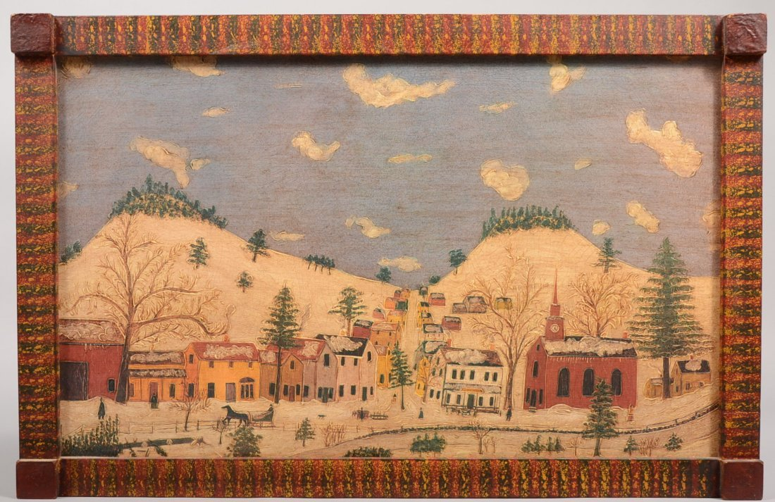 Snowy Small Town View in Stipple Painted Frame. Primiti