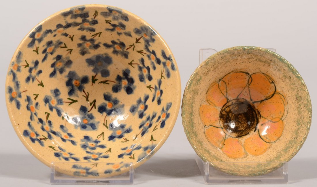 Two Small Russel Henry Stoneware Bowls. Flared rim bowl