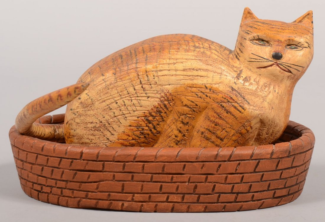 Walter Gottshall Carved Cat in Basket Bed. Yellow tabby