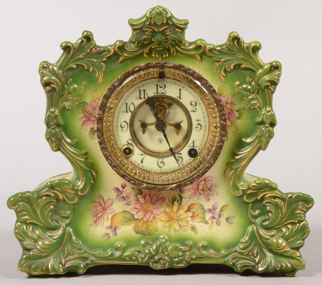 Green Glazed China Shelf Clock by Ansonia. Case shows g