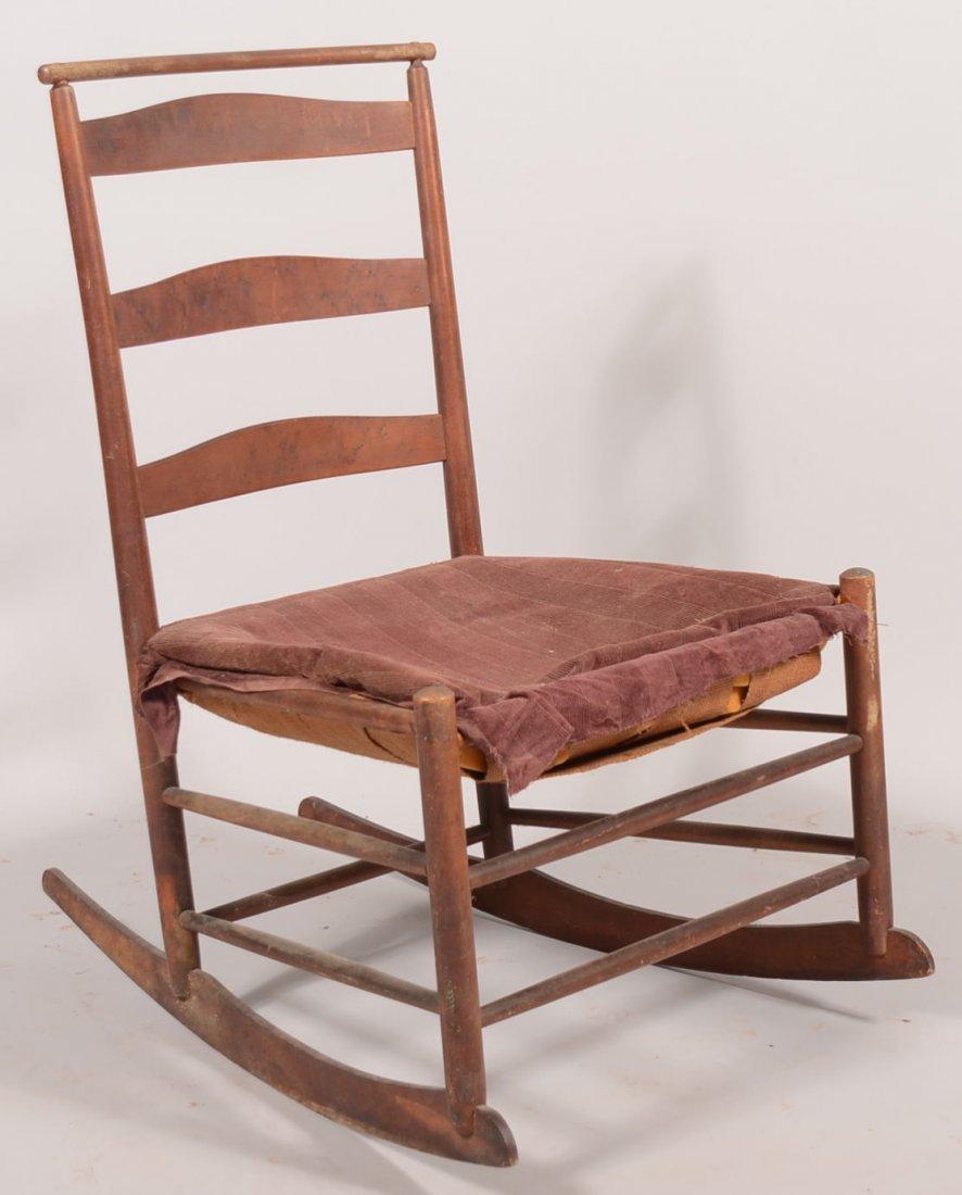 Shaker Armless Ladderback Rocking Chair. Natural finish