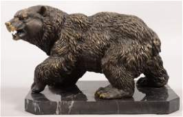 Patinated Cast Brass Grizzly Bear on Base. Unmarked. Mo