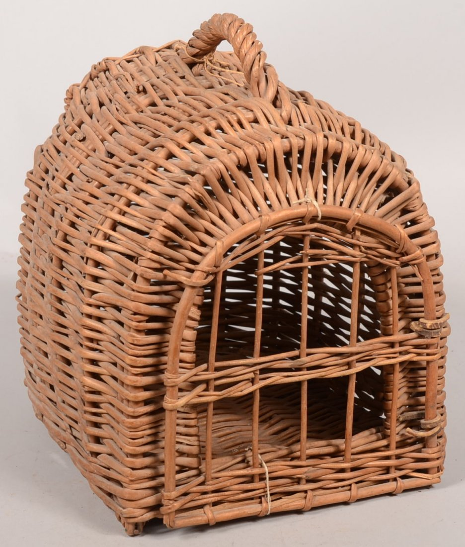 Woven Wicker Cat Carrier Basket. Loaf shaped or demilun