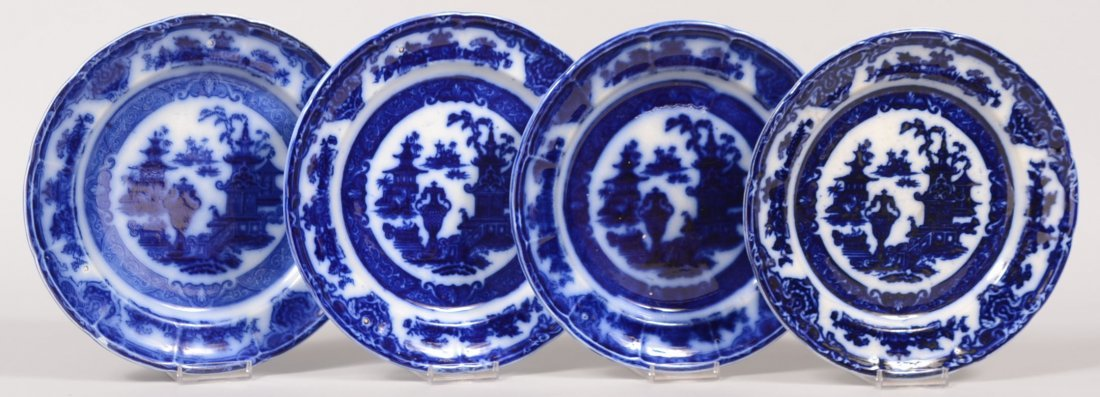 """Four Flow Blue """"Temple"""" Pattern Plates. Marked: """"Pearl"""