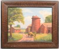 Farm Scene Oil on Artist Board Bucolic view of barn wi