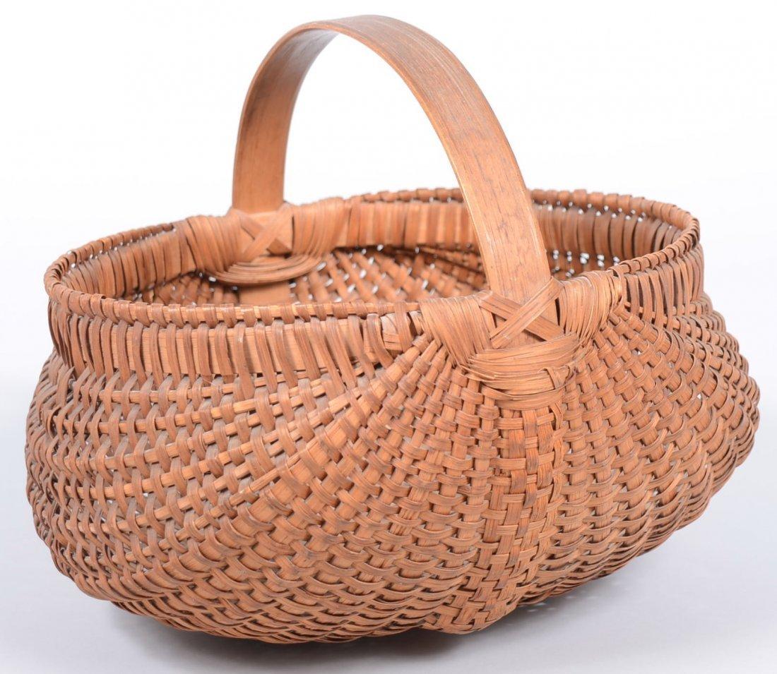 1. Woven Splint White Oak Gathering Basket. Round form