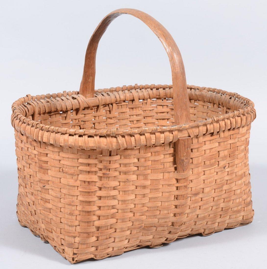 3. Rectangular White Oak Market Basket. Notch carved ha