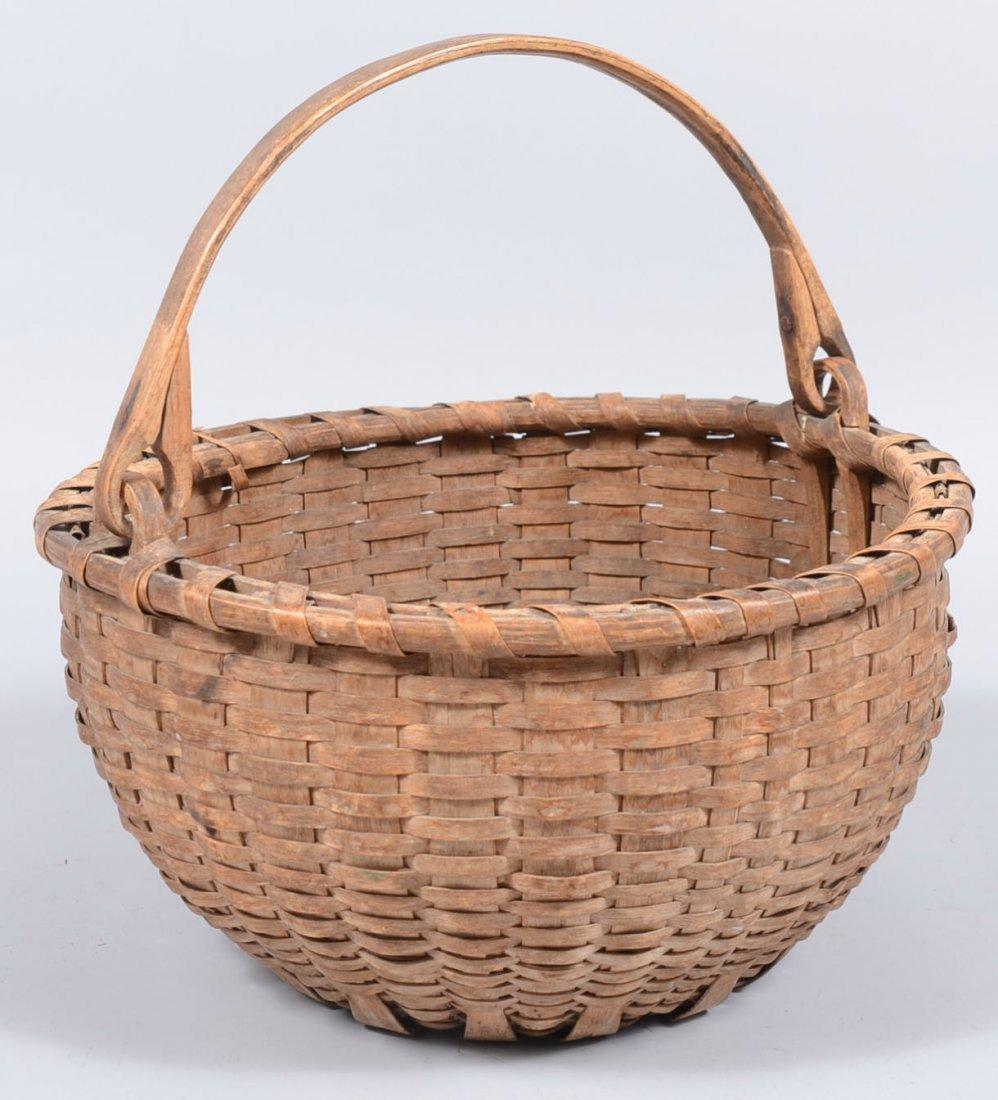 5. Round Split White Oak Swing Handle Basket. Wrapped s
