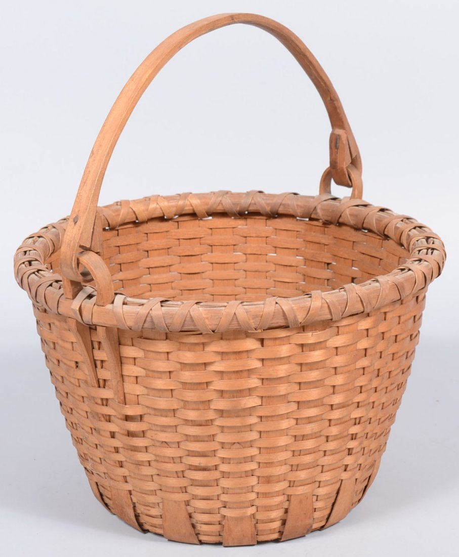 9. Bucket Shaped Black Ash Swing Handle Basket. Wide re