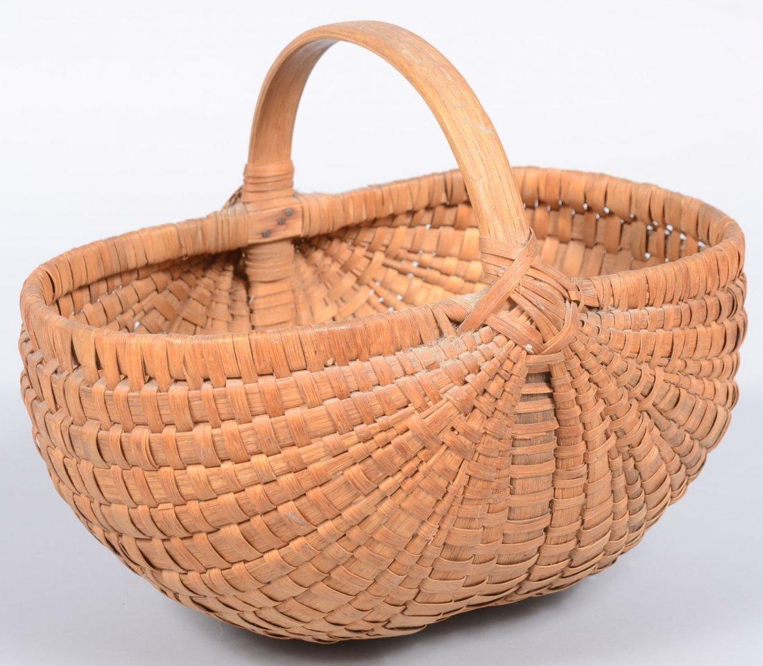 12. Woven Split White Oak Oval Melon Basket. Heavy ribs