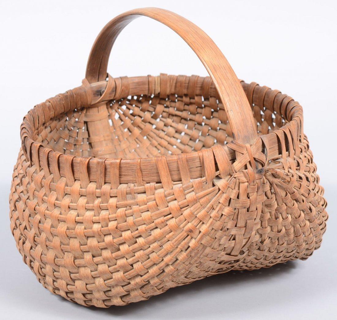 13. Woven Split White Oak Buttocks Basket. Wide strip r