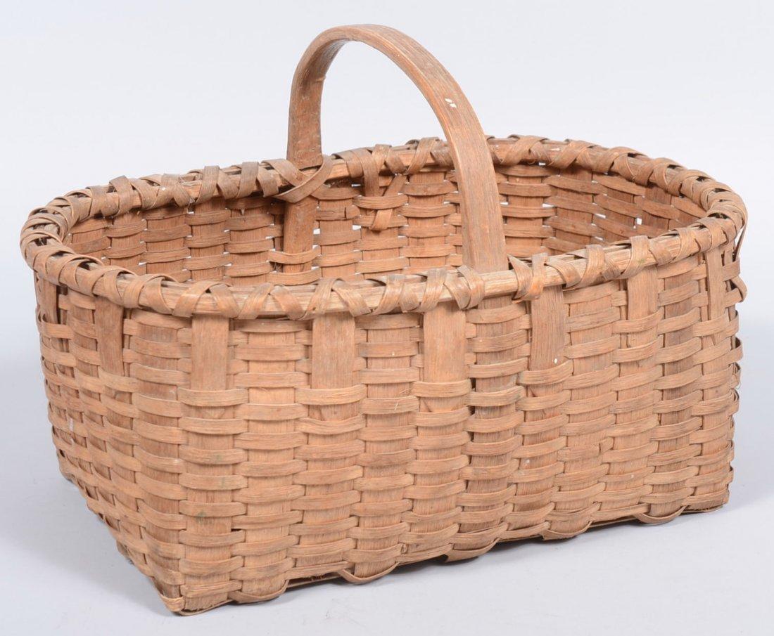 16. Woven Split White Oak Oblong Market Basket. Wide st