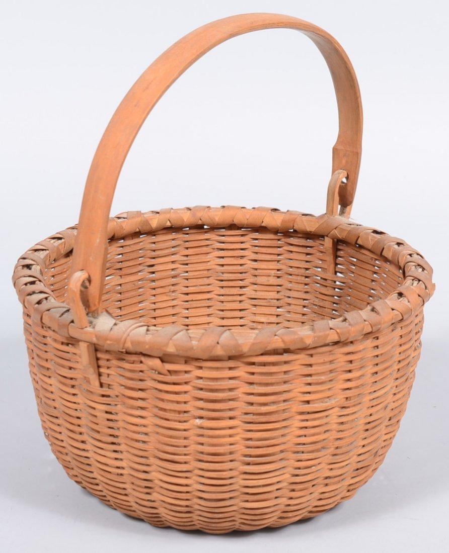 17. Round Woven Split White Oak Swing Handle Basket. Fi