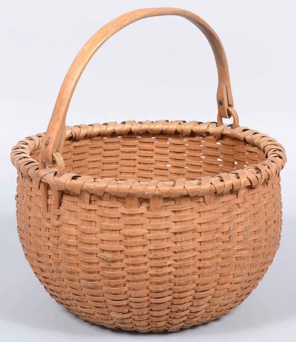 18. Large Round Woven White Oak Swing Handle Basket. Bu