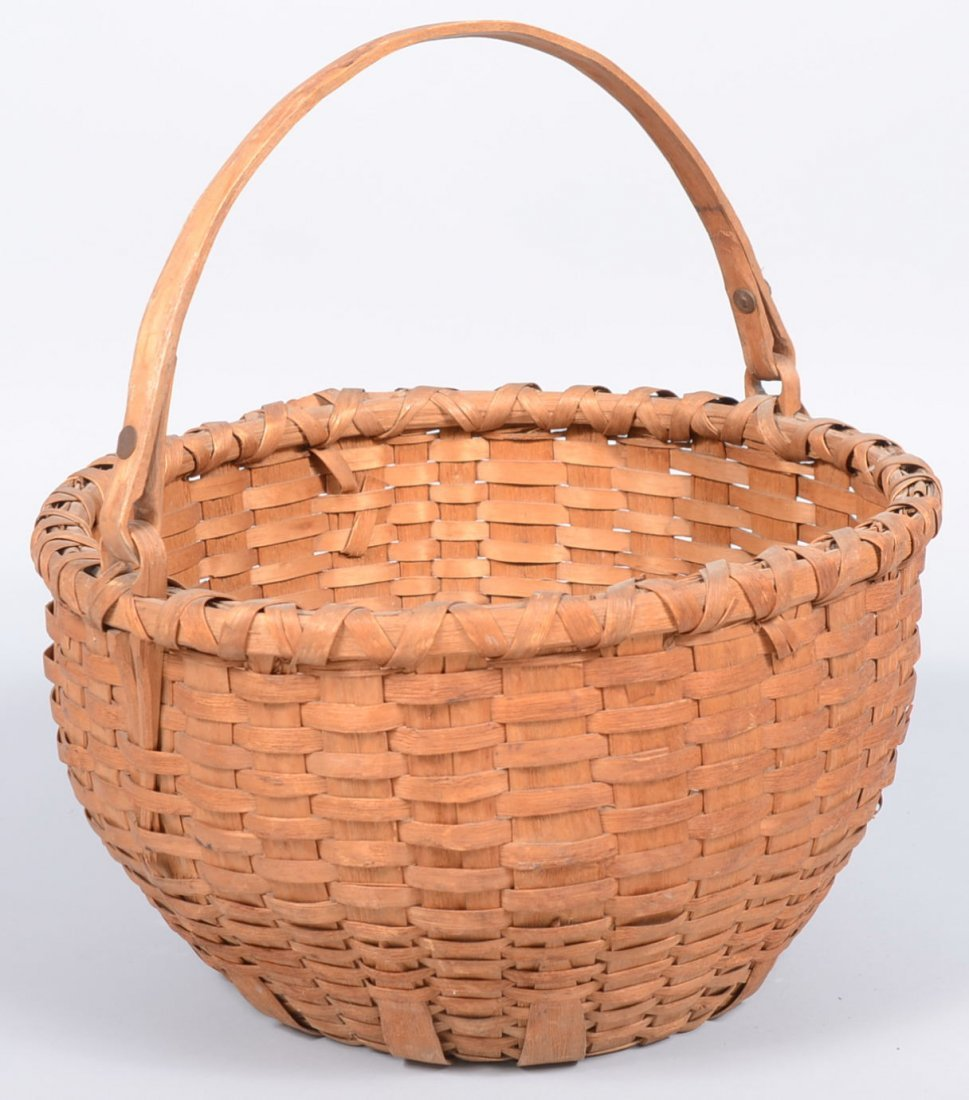 21. Round Split Woven White Oak Swing Handle Basket. Ha