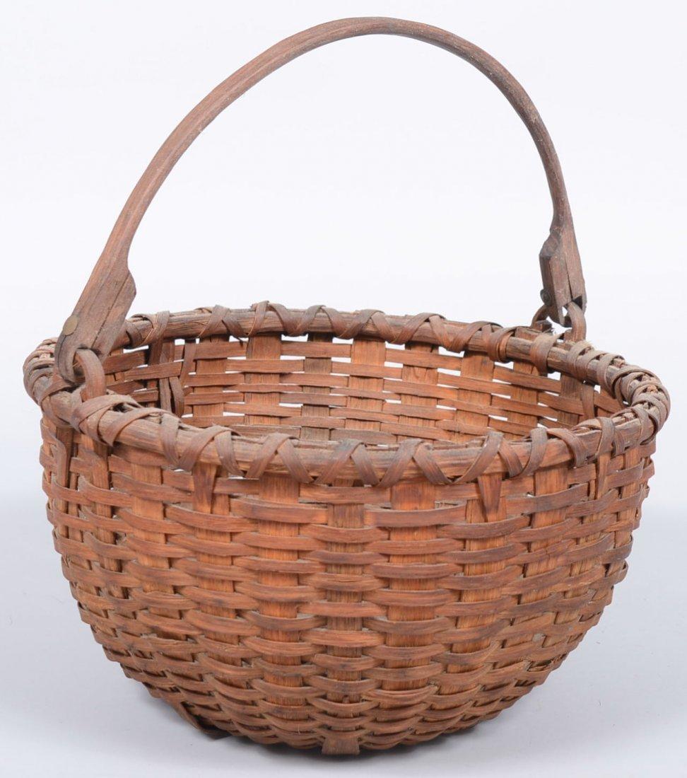 22. Round Split Woven White Oak Swing Handle Basket. Ha