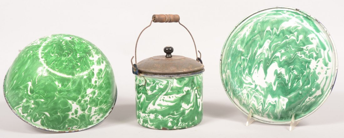 105. Three Pieces of Green Agateware. Berry Pail with t