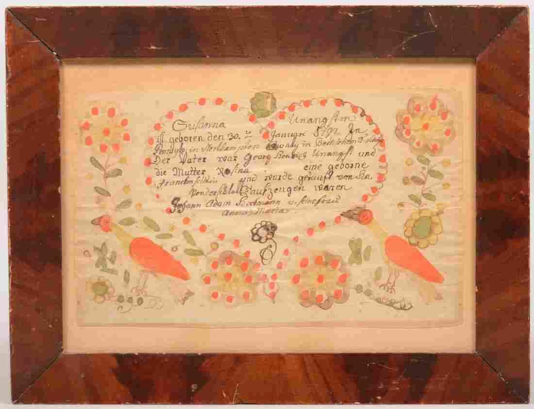 219. Friederich Krebs Ink and Watercolor on Paper Frakt