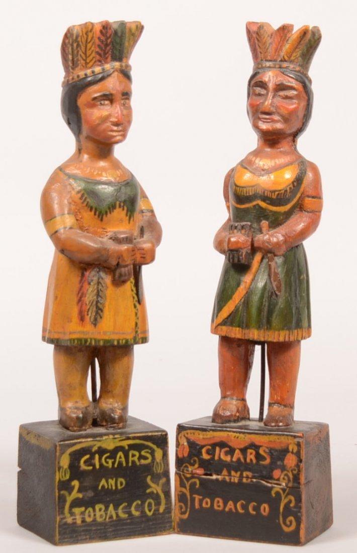 360. Pair of Folk Art Counter Top Cigar Store Indians.