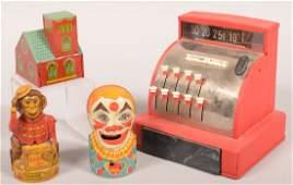 466 Lot of Four Toy Banks Three J Chein tin litho B