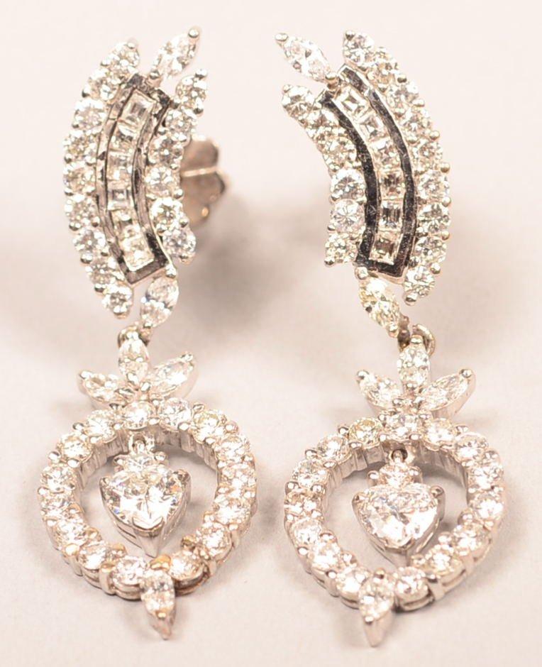 14 KT WHITE GOLD DIAMOND EARRINGS 3.5 CTW VS CLARITY