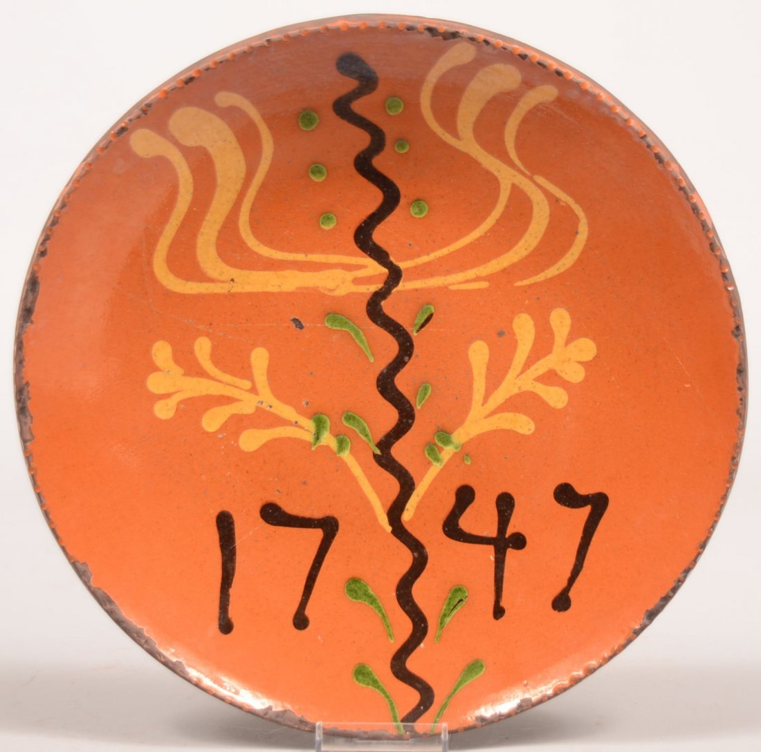 1.  Greg Shooner Slip Decorated Redware Pottery Plate.