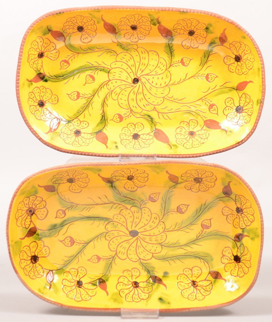 6. Two L. & B. Breininger Redware Pottery Loaf Plates.